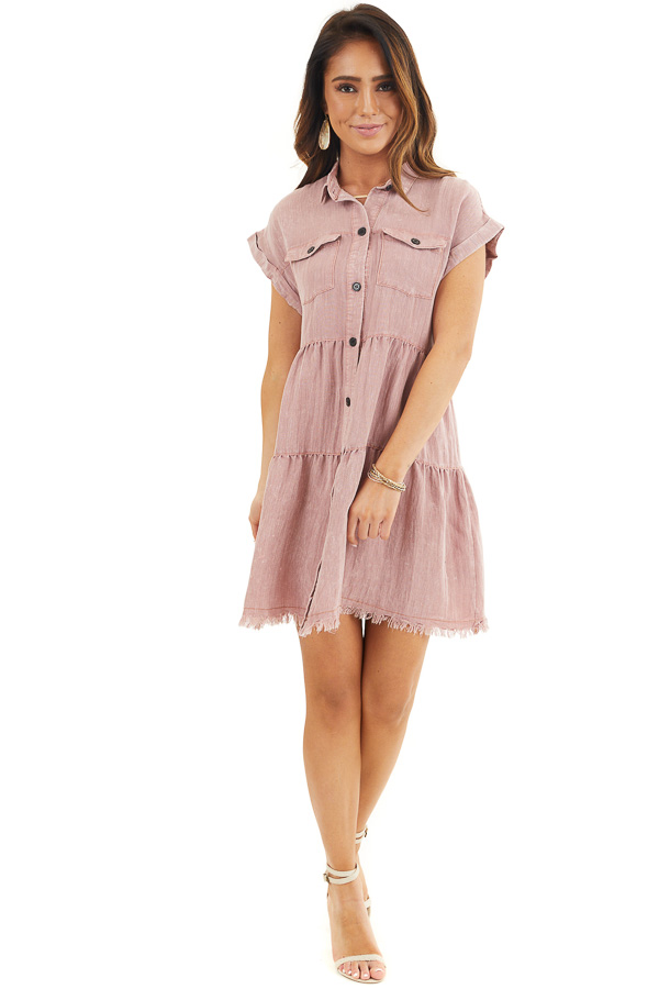 Dusty Rose Button Up Collared Dress with Cuffed Sleeves front full body