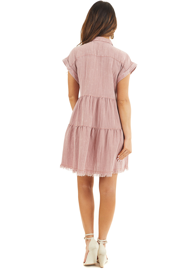 Dusty Rose Button Up Collared Dress with Cuffed Sleeves back full body