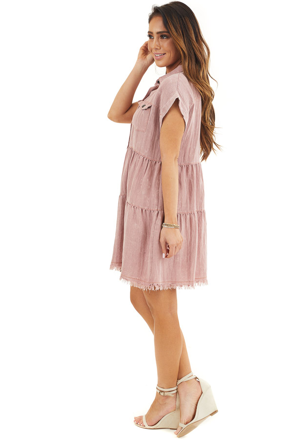 Dusty Rose Button Up Collared Dress with Cuffed Sleeves side full body