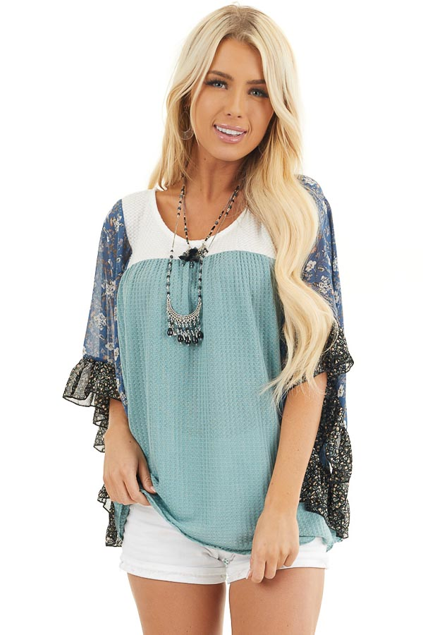 Teal and Off White Waffle Knit Top with Floral Print Sleeves front close up