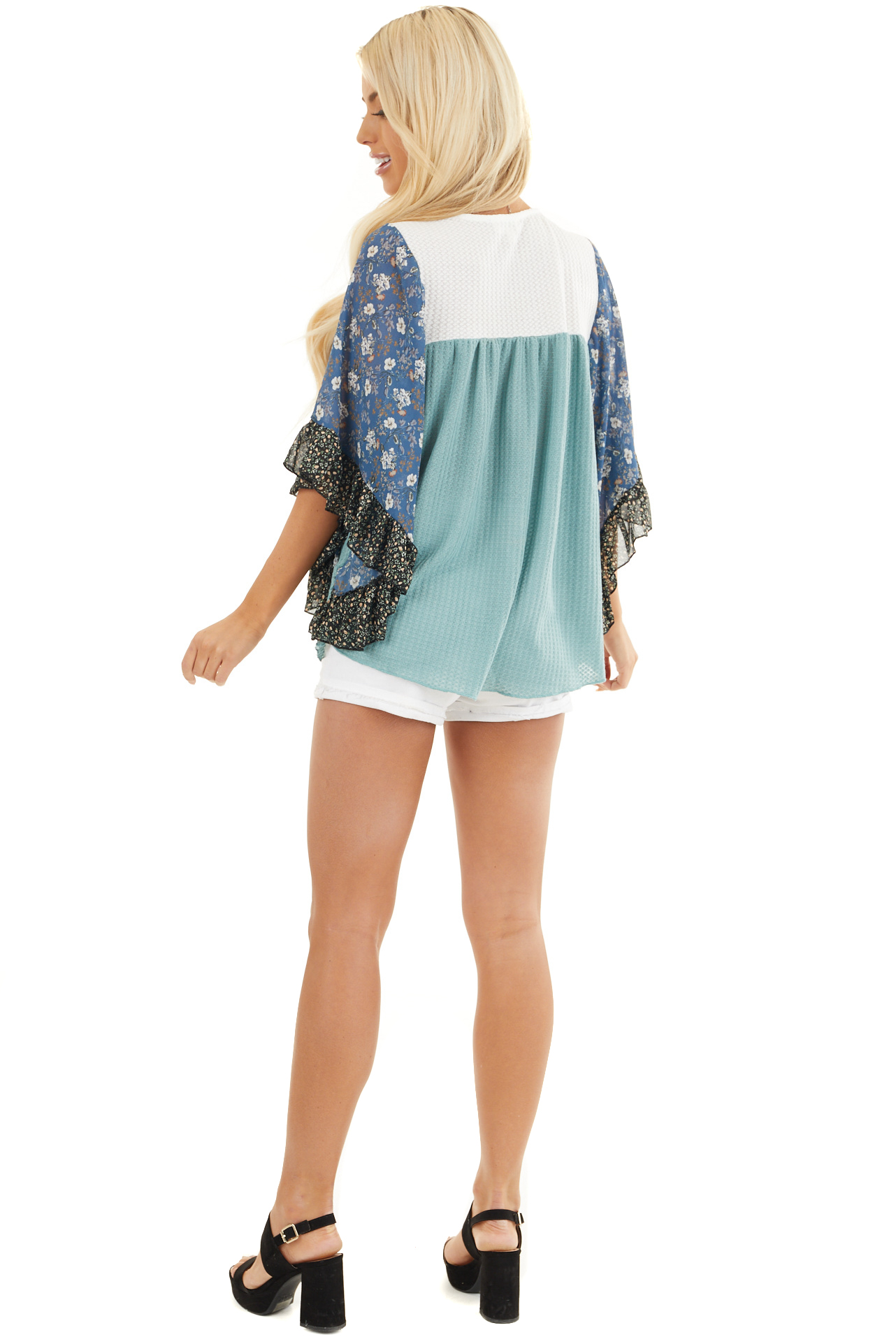 Teal and Off White Waffle Knit Top with Floral Print Sleeves back full body