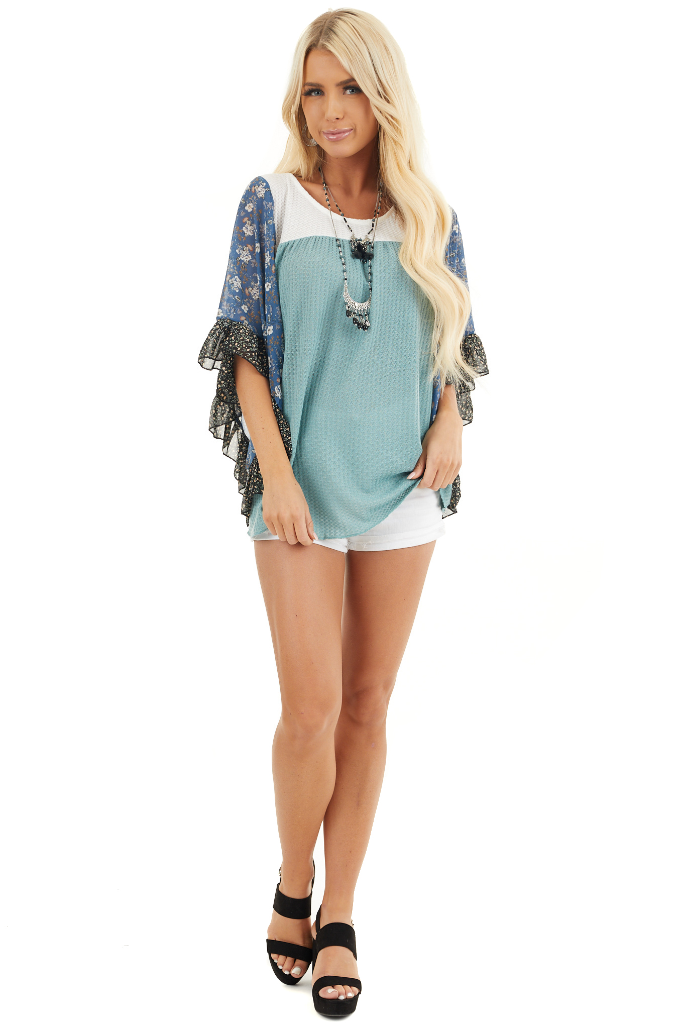 Teal and Off White Waffle Knit Top with Floral Print Sleeves front full body