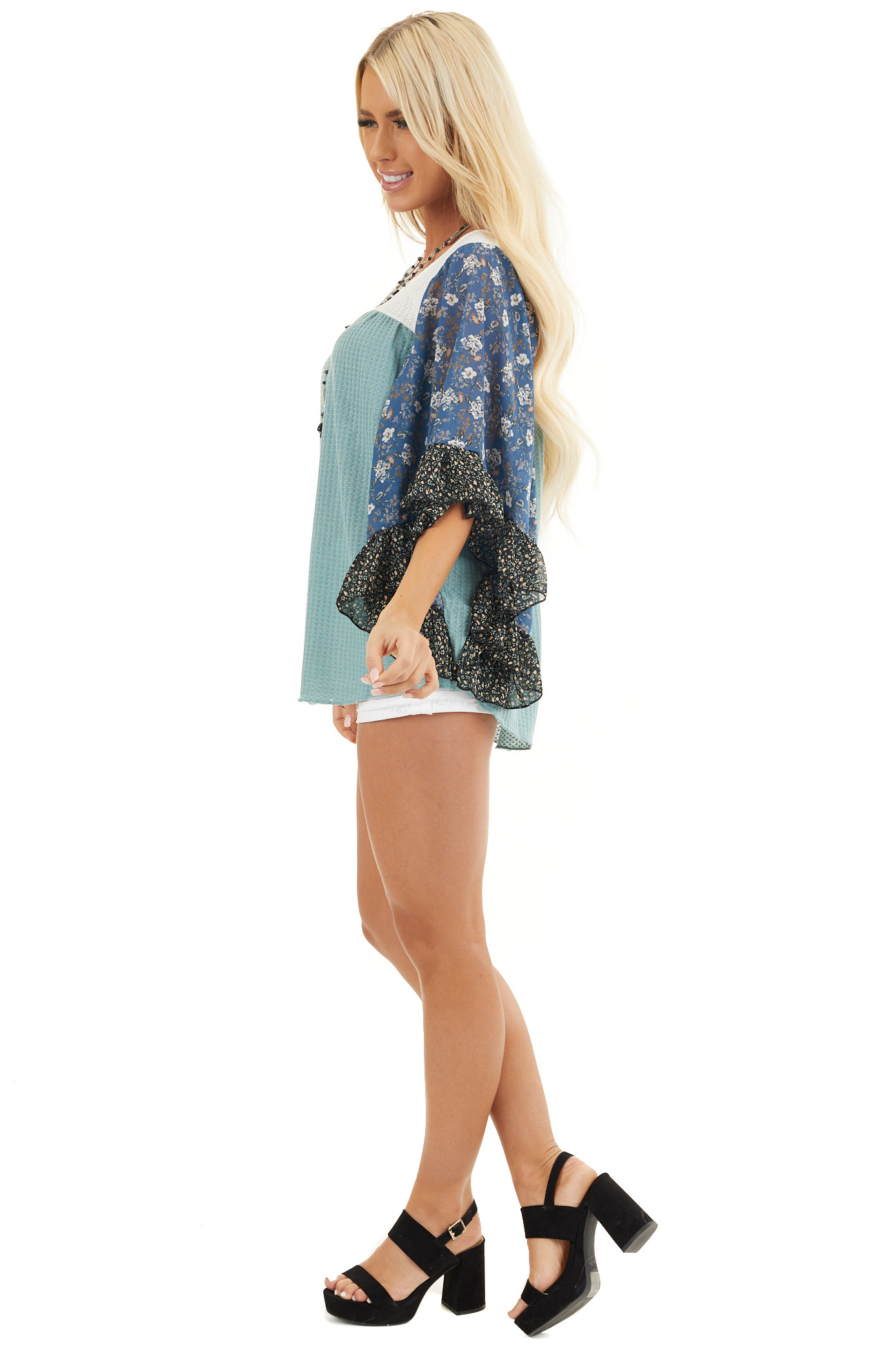 Teal and Off White Waffle Knit Top with Floral Print Sleeves side full body
