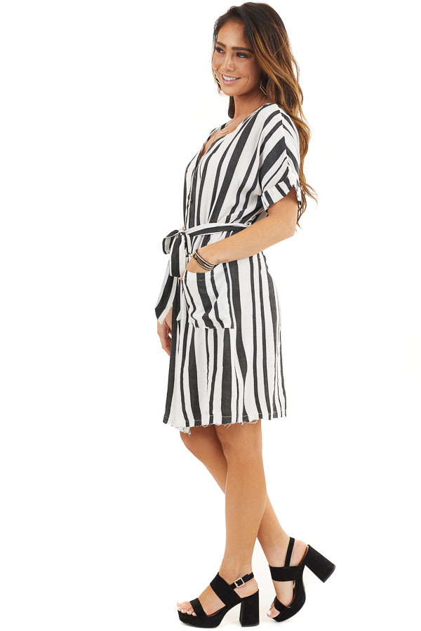 Black and White Striped Print Short Dress with Waist Tie side full body