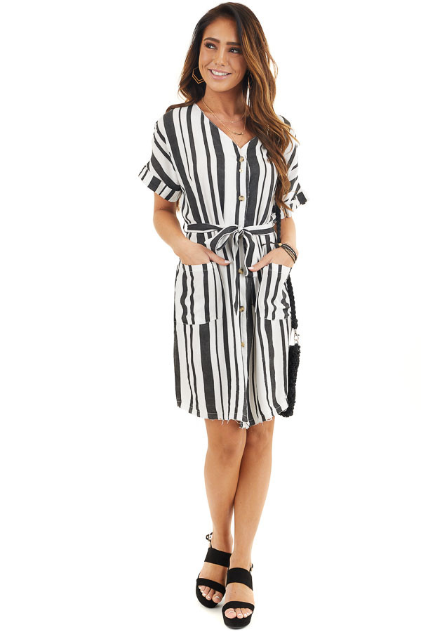 Black and White Striped Print Short Dress with Waist Tie front full body