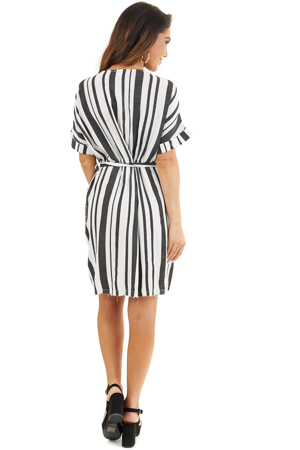 Black and White Striped Print Short Dress with Waist Tie back full body