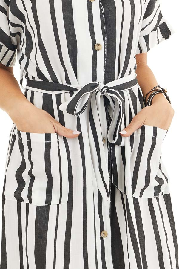 Black and White Striped Print Short Dress with Waist Tie detail