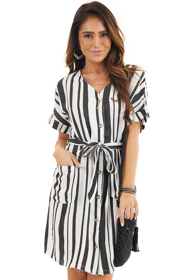 Black and White Striped Print Short Dress with Waist Tie front close up