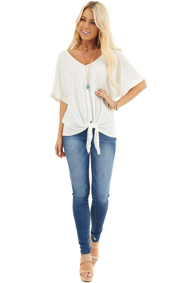 Off White V Neck Top with Cuffed Sleeves and Front Tie front full body