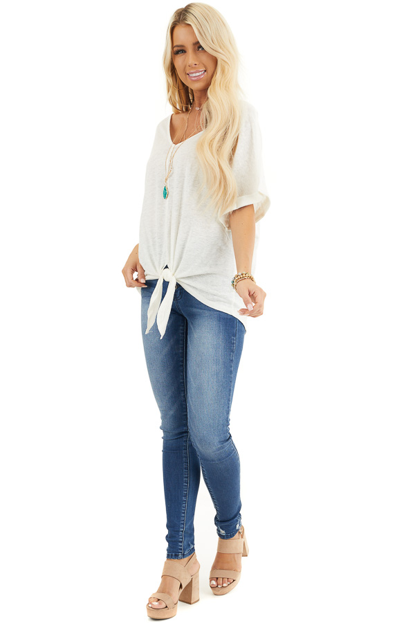 Off White V Neck Top with Cuffed Sleeves and Front Tie side full body