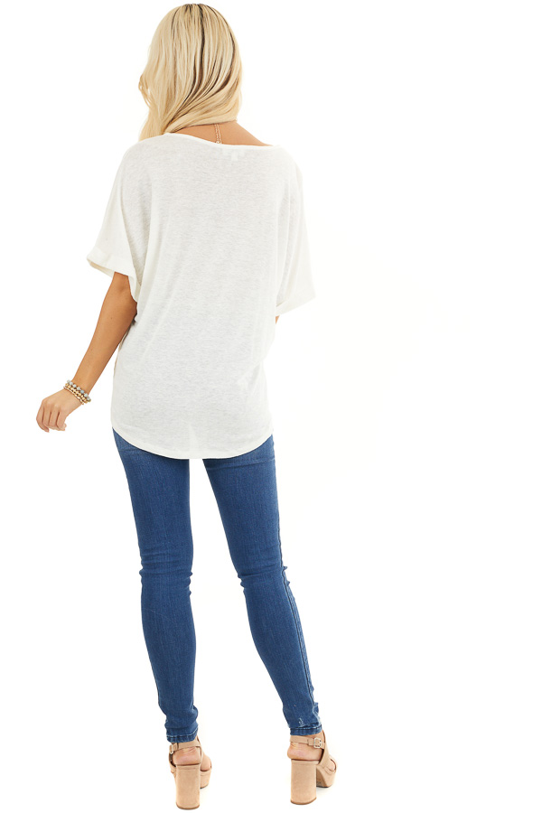 Off White V Neck Top with Cuffed Sleeves and Front Tie back full body