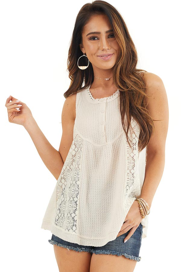Cream Waffle Knit Henley Tank Top with Crochet Lace Details front close up