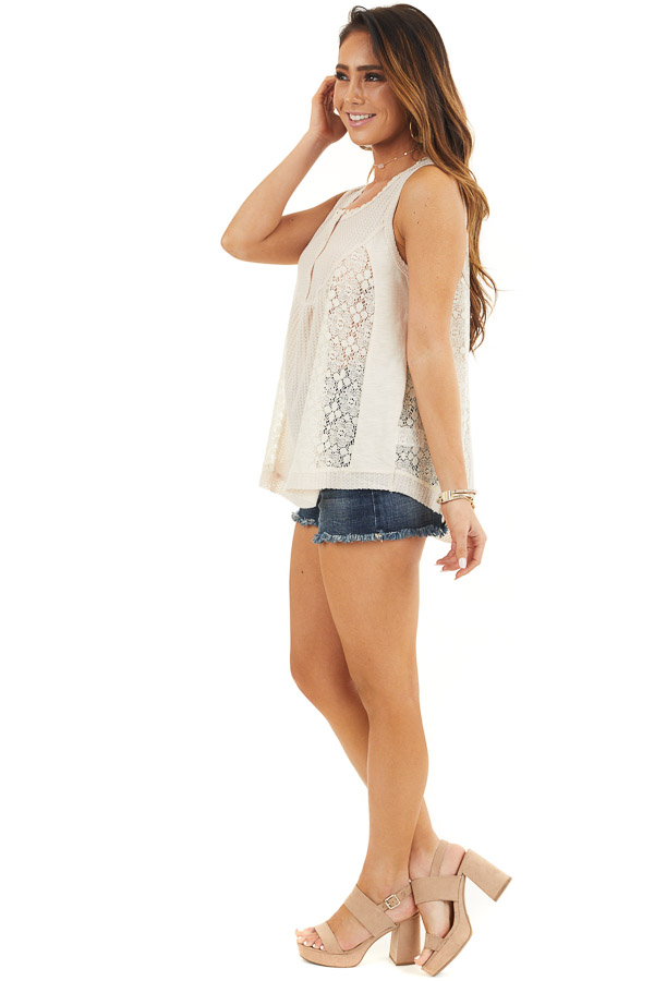 Cream Waffle Knit Henley Tank Top with Crochet Lace Details side full body