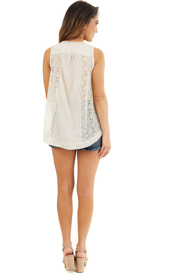 Cream Waffle Knit Henley Tank Top with Crochet Lace Details back full body