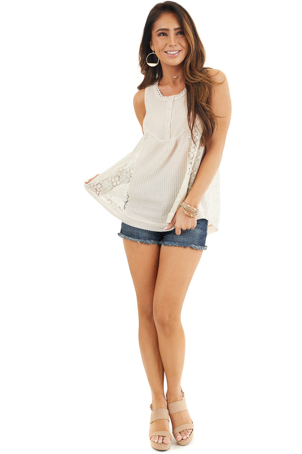 Cream Waffle Knit Henley Tank Top with Crochet Lace Details front full body