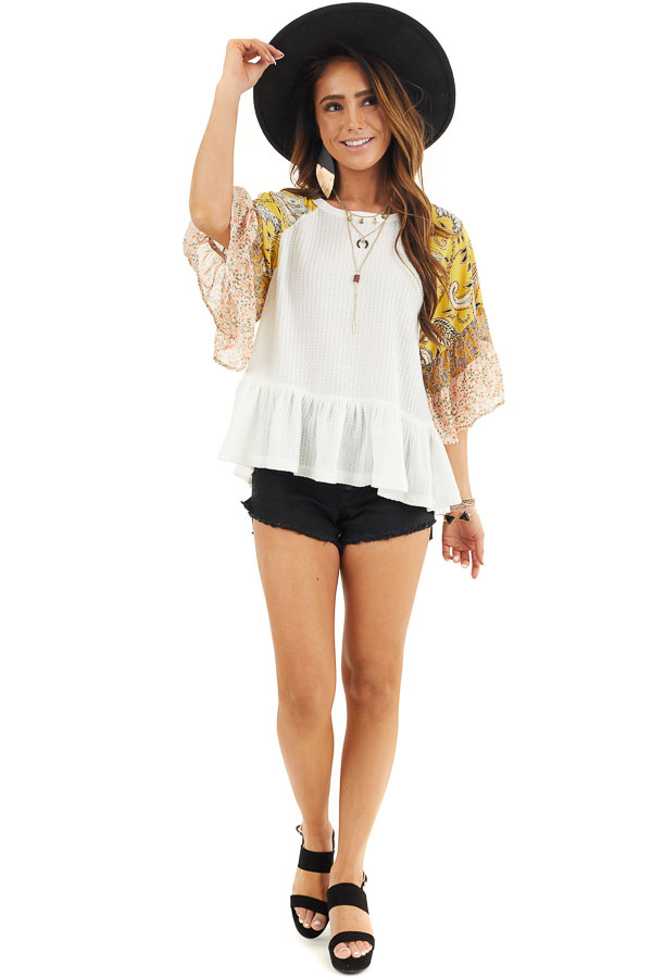 Off White Waffle Knit Peplum Top with Multiprint Sleeves front full body