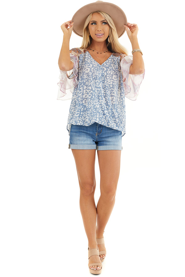 Dusty Blue Leopard Print Blouse with Multiprint Sleeves front full body