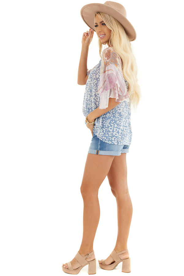 Dusty Blue Leopard Print Blouse with Multiprint Sleeves side full body