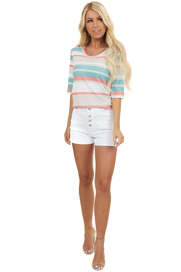 Coral and Teal Striped Textured Knit Top with Half Sleeves