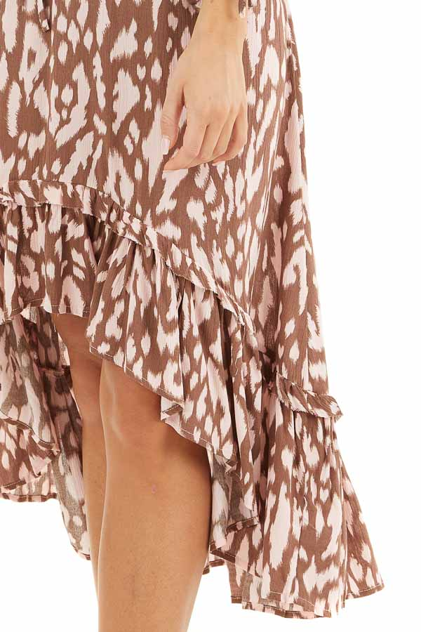 Chocolate Brown and Blush Leopard Print Midi Dress with Tie detail