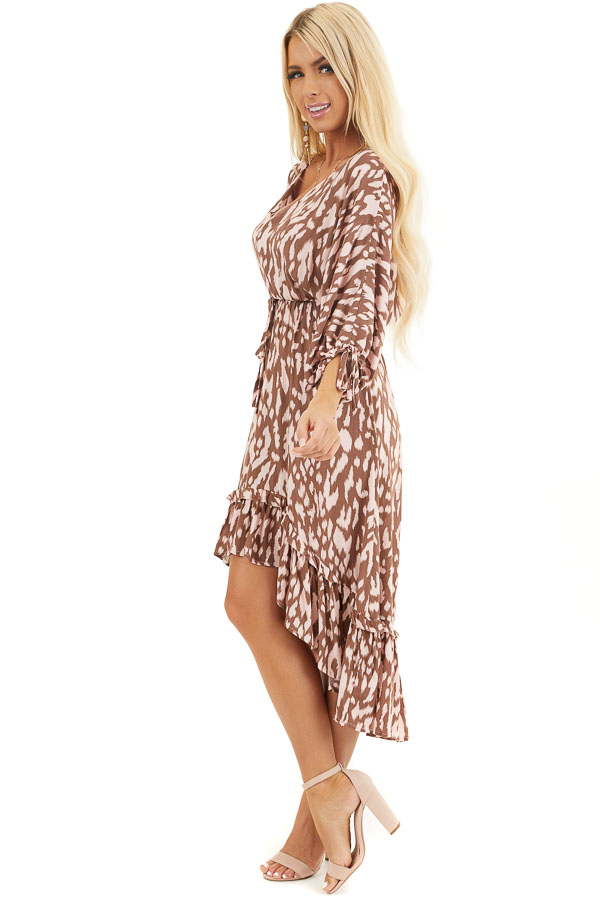 Chocolate Brown and Blush Leopard Print Midi Dress with Tie side full body
