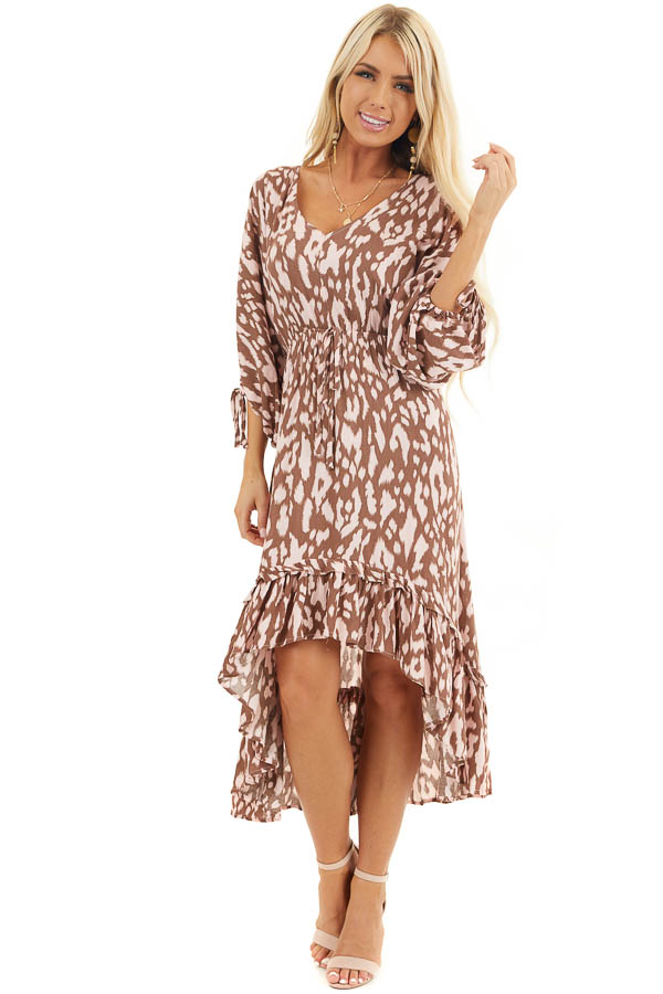 Chocolate Brown and Blush Leopard Print Midi Dress with Tie front full body