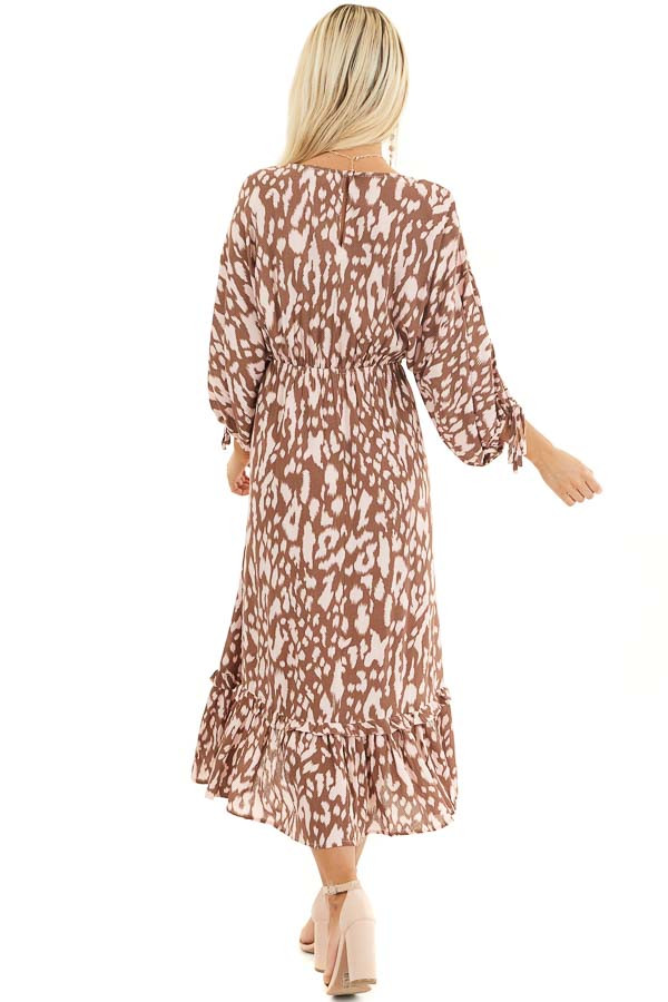 Chocolate Brown and Blush Leopard Print Midi Dress with Tie back full body