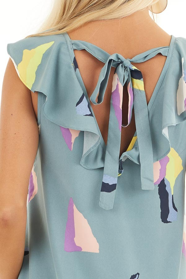 Dusty Teal Abstract Print Mini Dress with Back Tie Detail detail