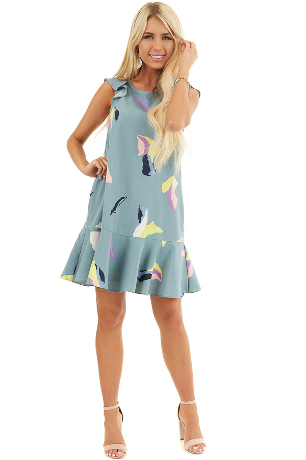 Dusty Teal Abstract Print Mini Dress with Back Tie Detail front full body