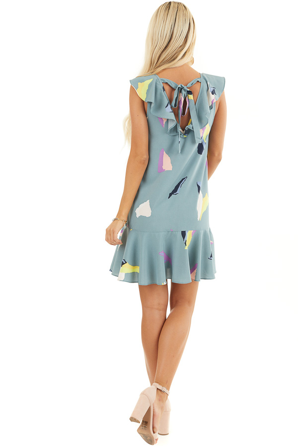 Dusty Teal Abstract Print Mini Dress with Back Tie Detail back full body