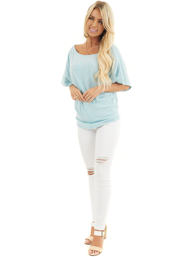 Sky Blue Boat Neck Top with Short Dolman Sleeves