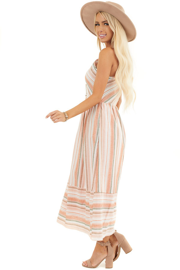 Apricot Striped Print Midi Dress with Halter Neckline side full body