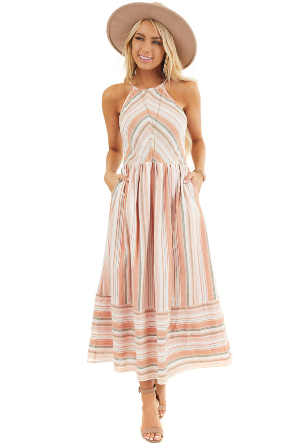 Apricot Striped Print Midi Dress with Halter Neckline front full body