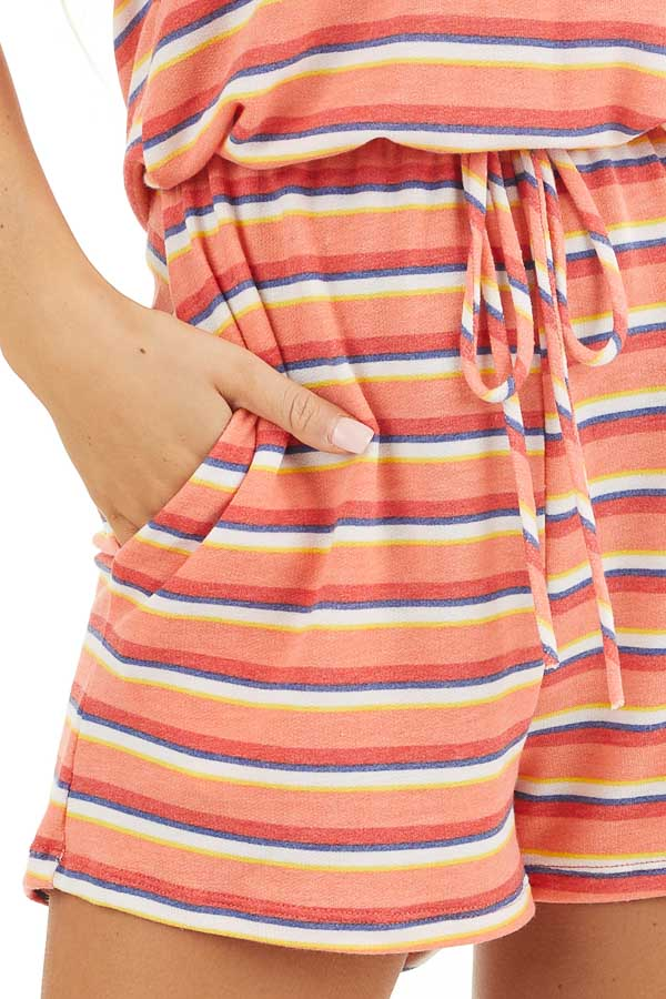 Coral and Navy Striped Romper with Elastic Waistband and Tie detail