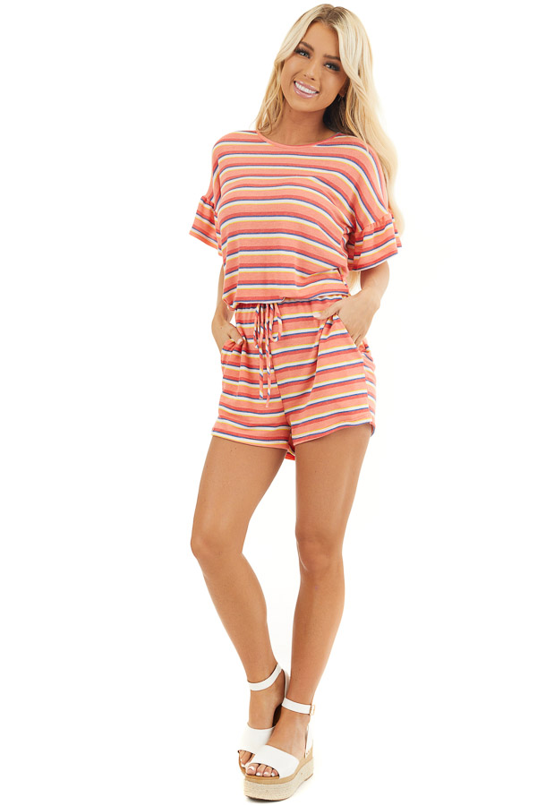Coral and Navy Striped Romper with Elastic Waistband and Tie front full body