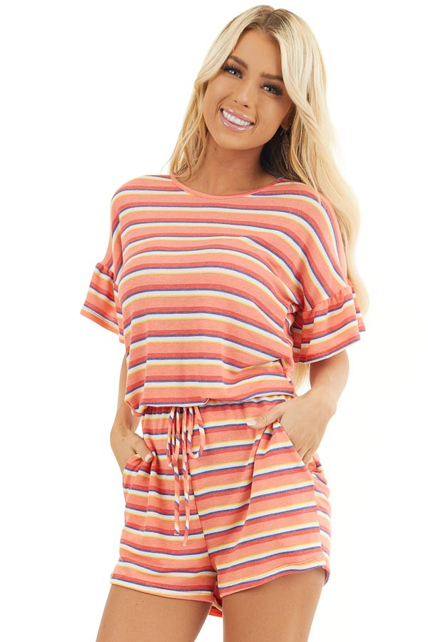 Coral and Navy Striped Romper with Elastic Waistband and Tie front close up