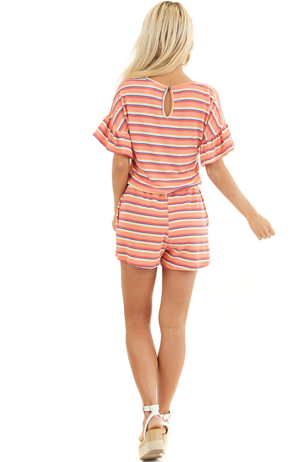 Coral and Navy Striped Romper with Elastic Waistband and Tie back full body