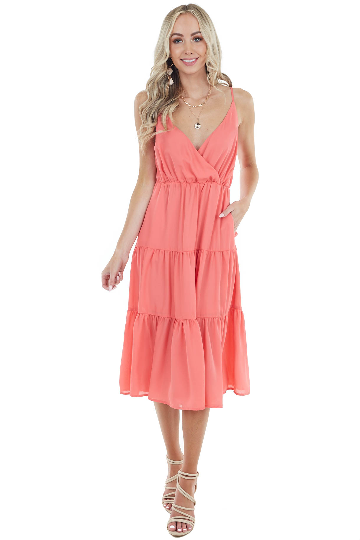 Coral Sleeveless Midi Dress with V Neck and Ruffled Detail