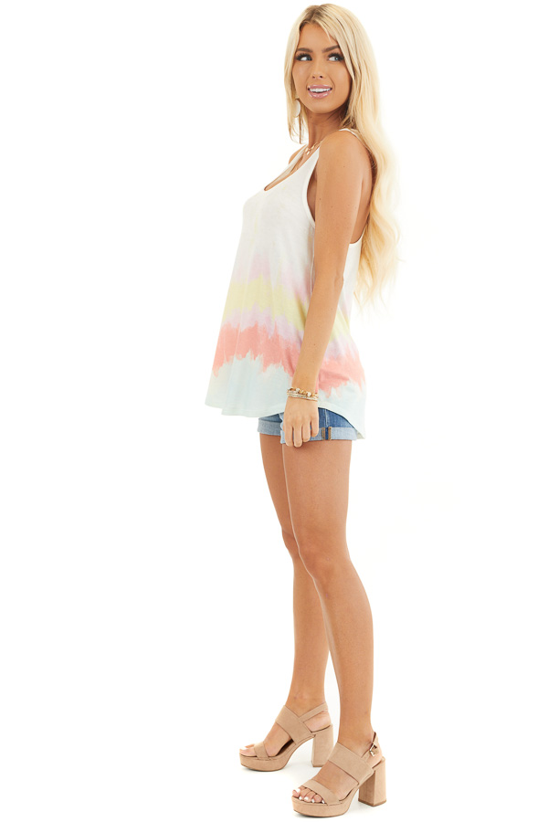 Off White and Multicolor Sleeveless Tie Dye Tank Top side full body