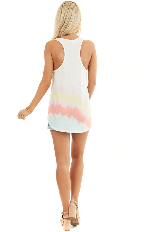 Off White and Multicolor Sleeveless Tie Dye Tank Top back full body