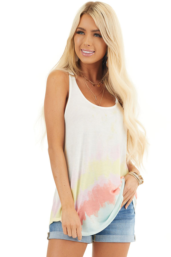 Off White and Multicolor Sleeveless Tie Dye Tank Top front close up