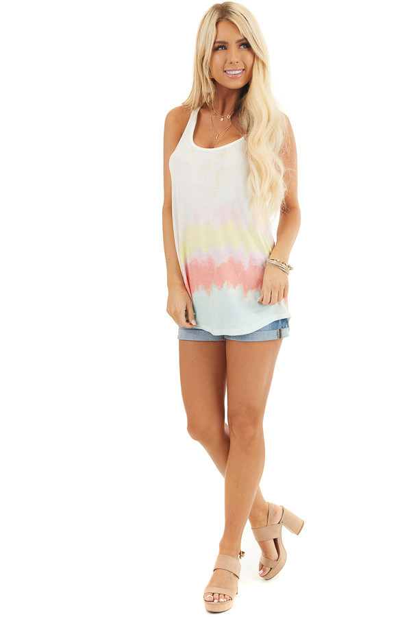Off White and Multicolor Sleeveless Tie Dye Tank Top front full body