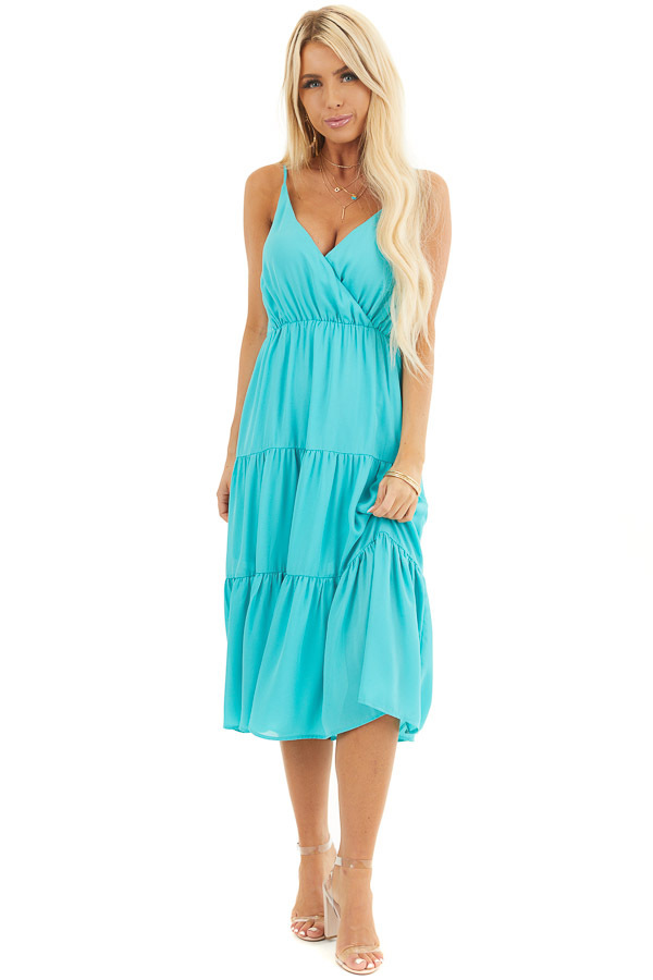 Teal Sleeveless Midi Dress with V Neck and Ruffled Detail front full body