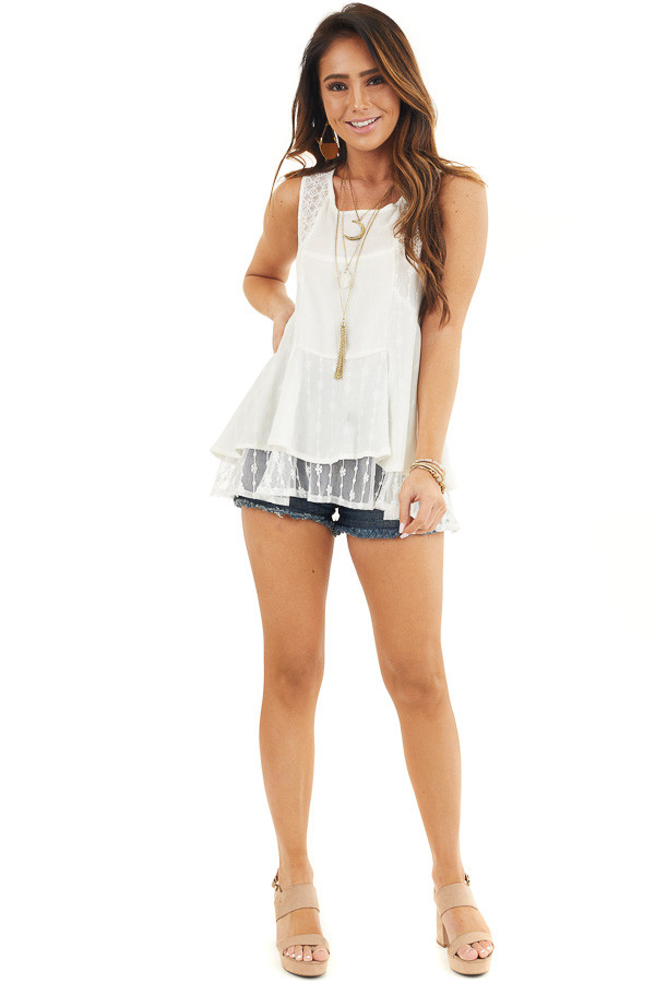 Off White Sleeveless Tank Top with Sheer Lace Details front full body