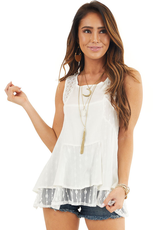Off White Sleeveless Tank Top with Sheer Lace Details front close up