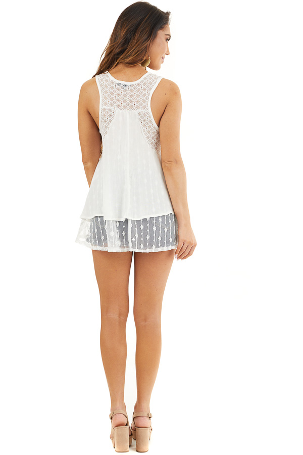 Off White Sleeveless Tank Top with Sheer Lace Details back full body