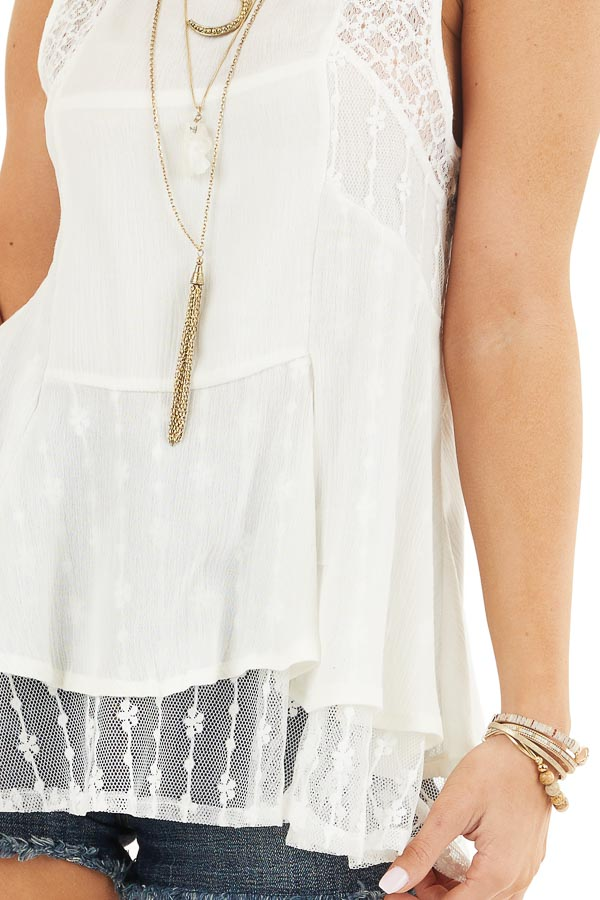Off White Sleeveless Tank Top with Sheer Lace Details detail