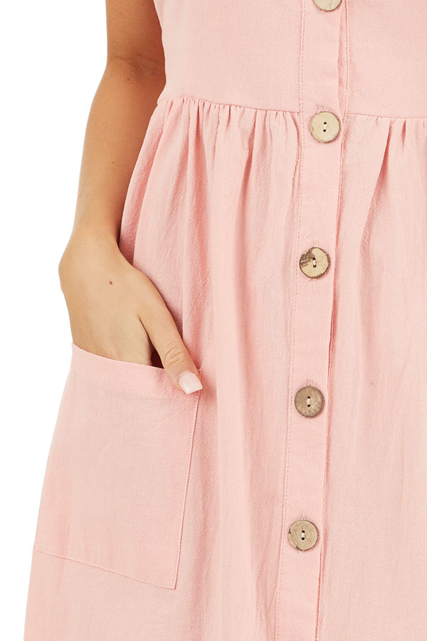 Peach Sleeveless Button Down Midi Dress with Front Pockets detail