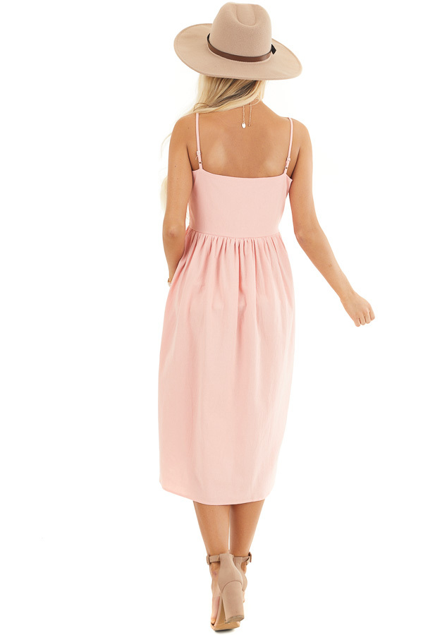 Peach Sleeveless Button Down Midi Dress with Front Pockets back full body