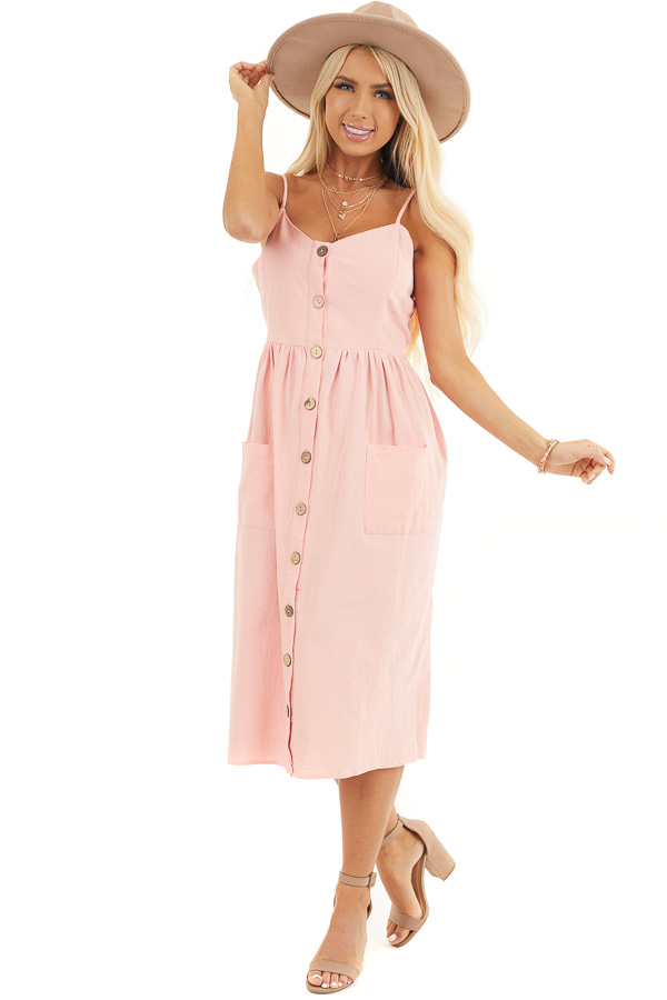 Peach Sleeveless Button Down Midi Dress with Front Pockets front full body